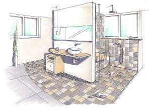 Plan eines barrierefreien Bades mit unterfahrbarem Waschtisch und bodenebener Dusche.